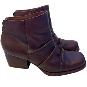 Kork-Ease Kissel Brown Leather Ruched Ankle Bootie